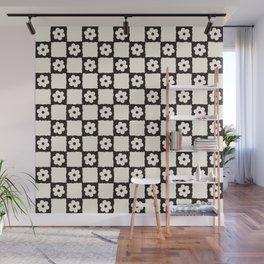 Retro Flower Checker in Black&White Wall Mural
