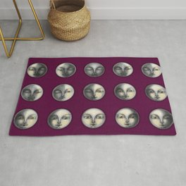 moon phases on dark purple Rug