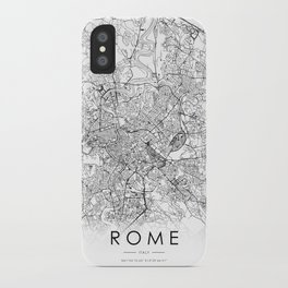 Rome City Map Italy White and Black iPhone Case
