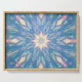 Blue, Pink, White Aura Mandala Serving Tray
