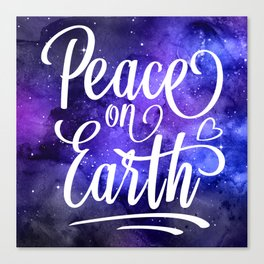 Peace On Earth Quote Canvas Print