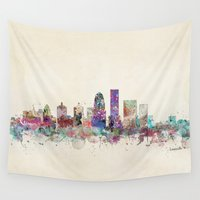 kentucky Wall Tapestries featuring louisville kentucky skyline by bri.buckley