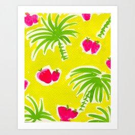 Strawberries & Palms Art Print