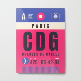 Luggage Tag A - CDG Paris Charles de Gaulle Metal Print