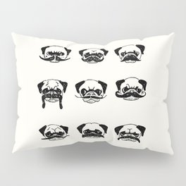 Moustaches of The Pug Pillow Sham
