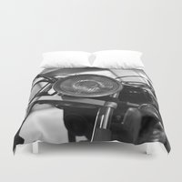 motorcycle Duvet Covers featuring Motorcycle by James Tamim