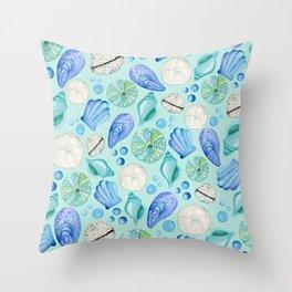 Aqua Seashells Down By The Seashore Throw Pillow