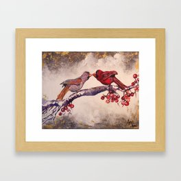 Kissing Cardinals Framed Art Print