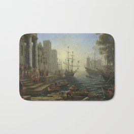 Seaport with the Embarkation of Saint Ursula by Claude Bath Mat