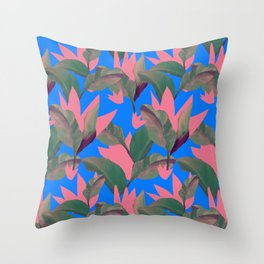 Retro Luxe Lilies Electric Blue Pattern Throw Pillow