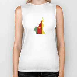 cameroon flag map Biker Tank