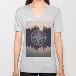 Wooded Lake Reflection Compass Unisex V-Neck