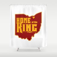 lebron Shower Curtains featuring Home of the King (White) by Denise Zavagno