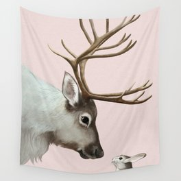 Reindeer and rabbit Wall Tapestry
