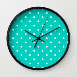 Aqua Small Polka Dots Pattern Wall Clock