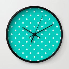 Aqua Small Polka Dots Pattern Wall Clock