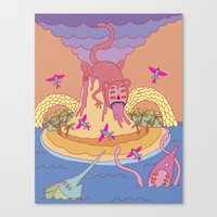 monkey island Canvas Prints featuring monkey by mleko