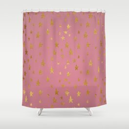 Passion Pink Golden Stars Shower Curtain
