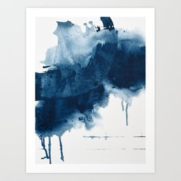 Where does the dance begin? A minimal abstract acrylic painting in blue and white by Alyssa Hamilton Art Print