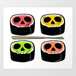 Yummy Kawaii Skull Sushi - What's your flavor? Art Print