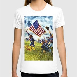 African American 9th Cavalry Buffalo Soldiers 1898 in Cuba, San Juan Hill landscape painting T-shirt