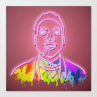 chance the rapper Canvas Prints featuring Chance the Rapper - Neon Sign by Kenneth Osborn