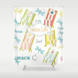 Ocean Way Pacific - Beach Life - tangerine Shower Curtain