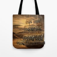 pirate ship Tote Bags featuring Pirate Ship by FantasyArtDesigns