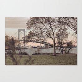 Over a Beautiful Bridge at Sunset Canvas Print