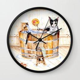 Onsen Cat - Do not disturb Wall Clock
