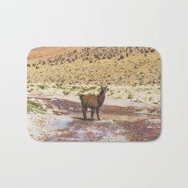Llama Crossing in Bolivia Bath Mat