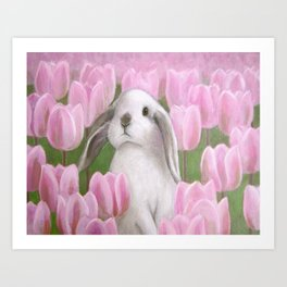 Bunny and Tulips Art Print