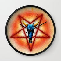 pentagram Wall Clocks featuring NATIVE PENTAGRAM - 018 by Lazy Bones Studios