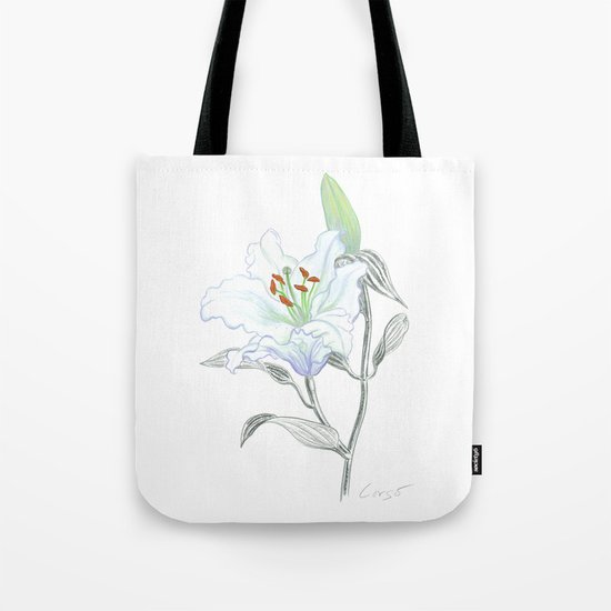 Lily 01 Botanical Flower * White Casablanca Lily Tote Bag