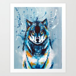 Wise and Wild - wolf acrylic painting Art Print