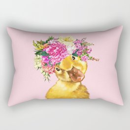 Flower Crown Baby Duck in Pink Rectangular Pillow
