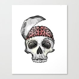 Hinged Skull with Brain Canvas Print