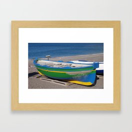 Colorful Small Fishing Boat Framed Art Print
