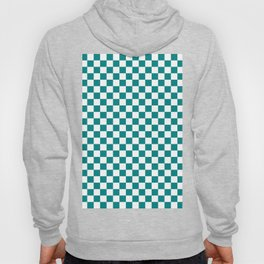 Small Checkered - White and Dark Cyan Hoody