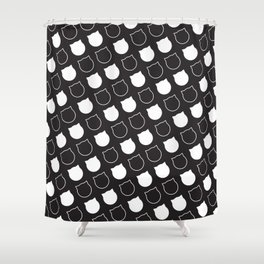 Polka Cat - Reverse Shower Curtain