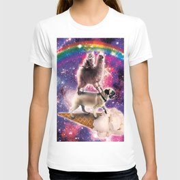 Space Cat Llama Pug Riding Ice Cream T-shirt