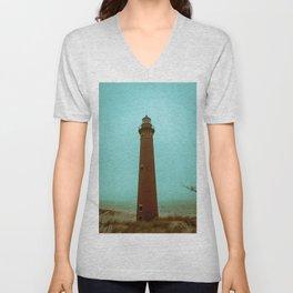 Little Sable Point Lighthouse Beach Brick Light Tower Lake Michigan Unisex V-Neck