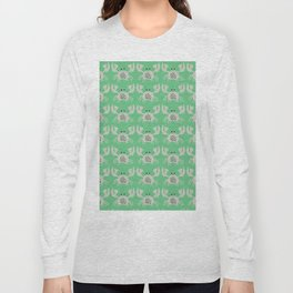 Vintage Crabby Pattern in Green Long Sleeve T-shirt