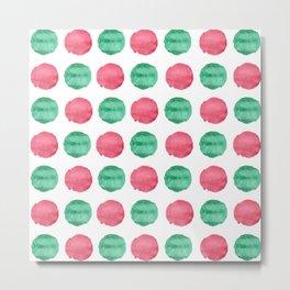 Red and Green Polka Dots Metal Print