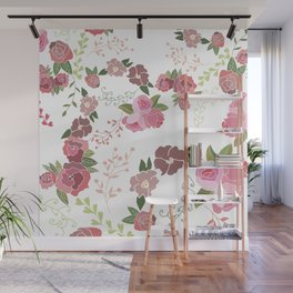 Pink Roses Pattern Wall Mural