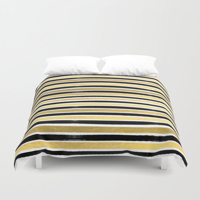 Black and white gold stripes modern brushstrokes minimal art print abstract painting gold foil Duvet Cover