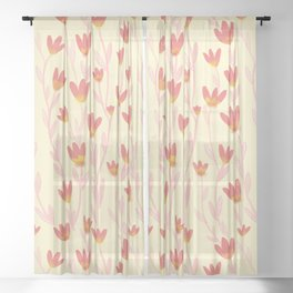 Red Tulips Pattern Sheer Curtain