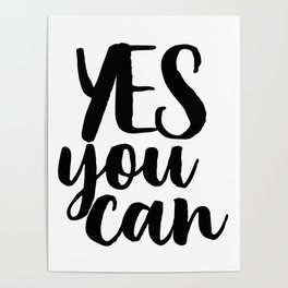 Yes You Can, Wall Art Typography, Inspirational Quote, Positive Printable Art, Motivational Quote Poster