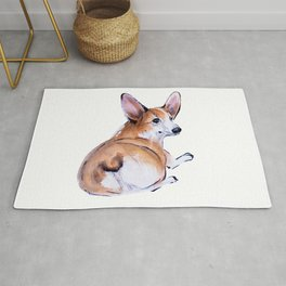Corgi butt sumie and watercolor painting Rug