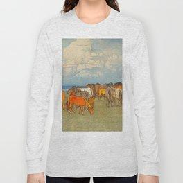 Numazaki Pasture (Numazaki Bokujo) Hiroshi Yoshida Vintage Japanese Woodblock Print Long Sleeve T-shirt